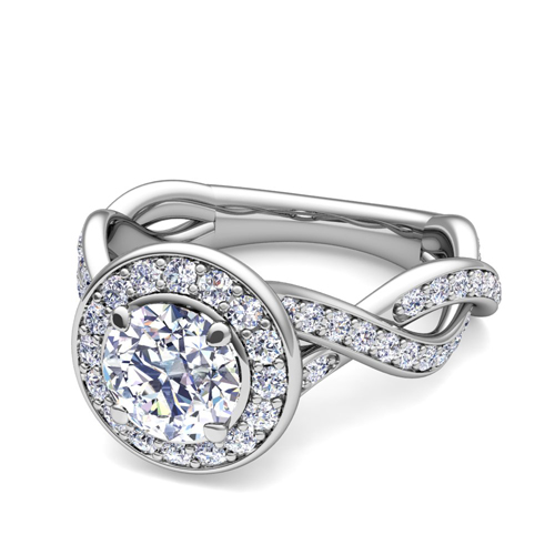 Infinity GIA Diamond Halo Engagement Ring in 18k White Gold