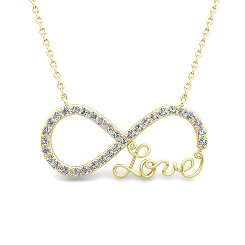Infinity diamond love necklace in 14k gold pendant infinity diamond love necklace mozeypictures Images
