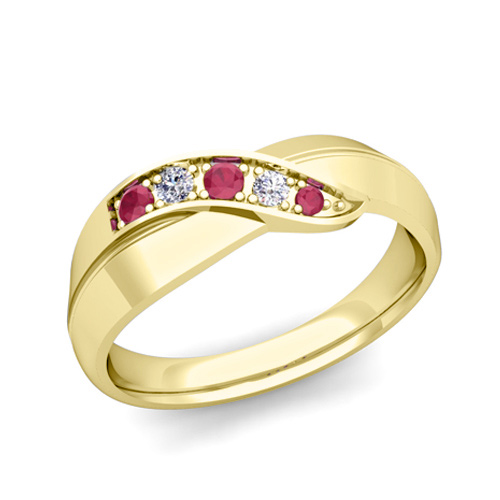 Infinity Diamond And Ruby Mens Wedding Band Ring In 14k Gold