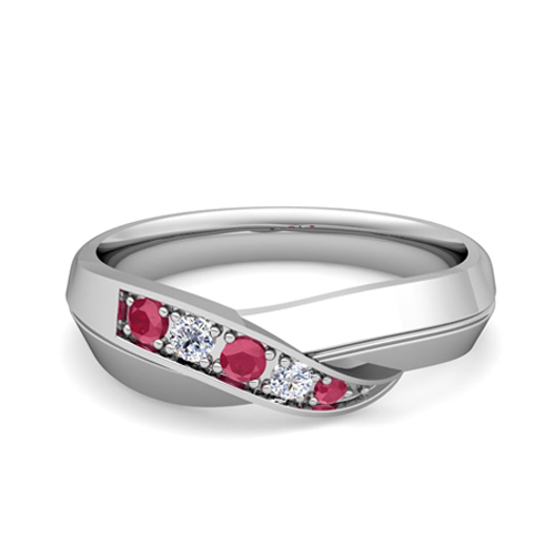 Infinity Diamond And Ruby Mens Wedding Band Ring In 18k Gold