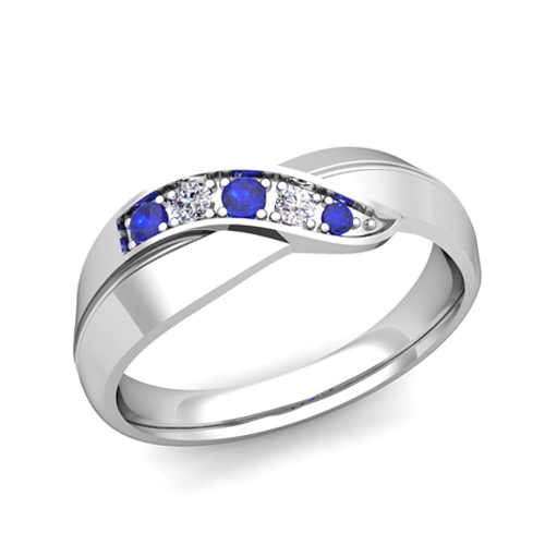 Infinity Diamond And Sapphire Mens Wedding Band Ring In 18k Gold
