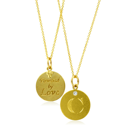 Initial necklace letter c diamond pendant with 18k yellow gold chain initial letter necklace aloadofball Choice Image