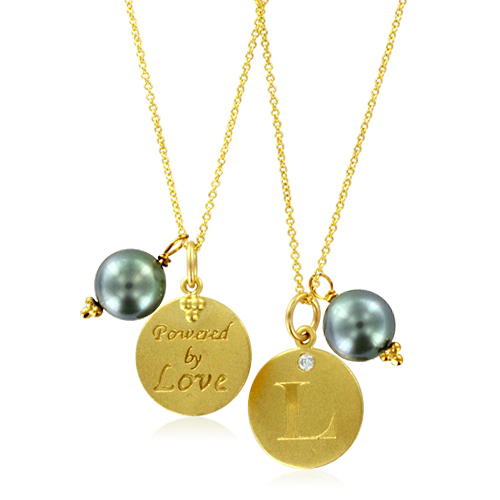 initial letter necklace with pearl charm