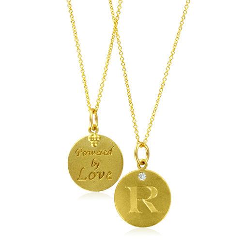 initial necklace letter r pendant with 18k yellow