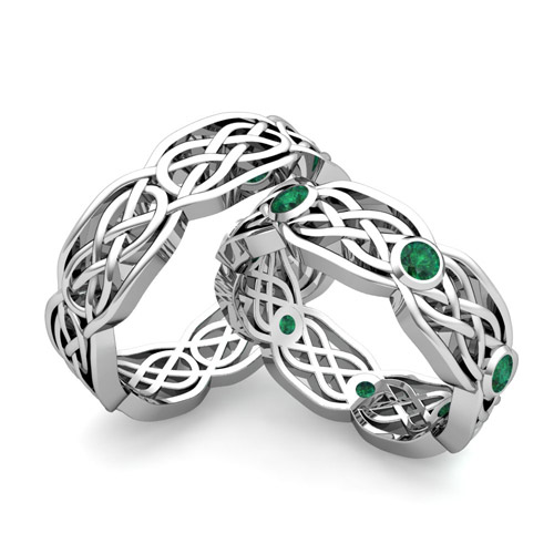 His hers wedding band 18k gold celtic knot emerald wedding ring