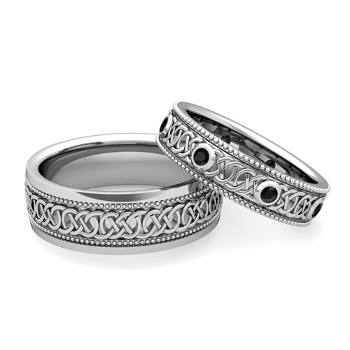 His Hers Celtic Wedding Band in Platinum Milgrain Black Diamond Ring