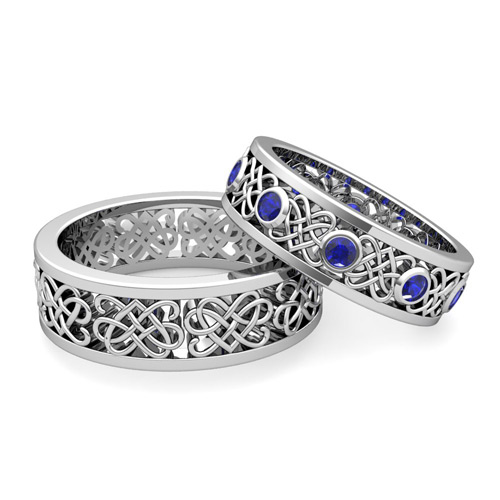celtic heart knot wedding ring set - Sapphire Wedding Ring