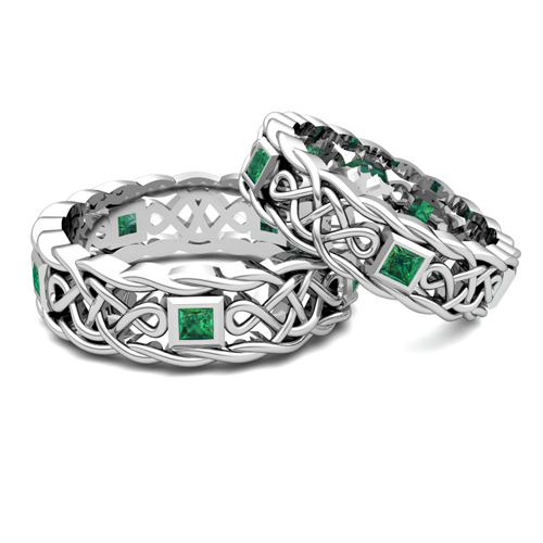 order now ships on friday 126order now ships in 5 business days matching celtic knot wedding band in 14k gold emerald wedding ring - Celtic Wedding Ring Sets
