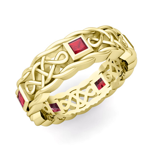 His Hers Wedding Band in 14k Gold Celtic Ruby Wedding RingMy Love