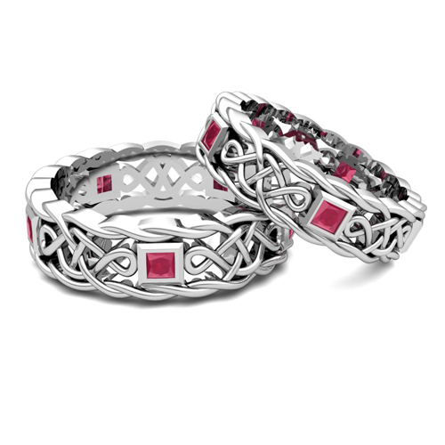 order now ships on friday 616order now ships in 5 business days matching celtic knot wedding band in 14k gold ruby wedding ring - Ruby Wedding Ring Sets