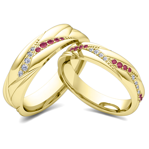 His Her Matching Wedding Ring Bands in 14k Gold Ruby Diamond Ring