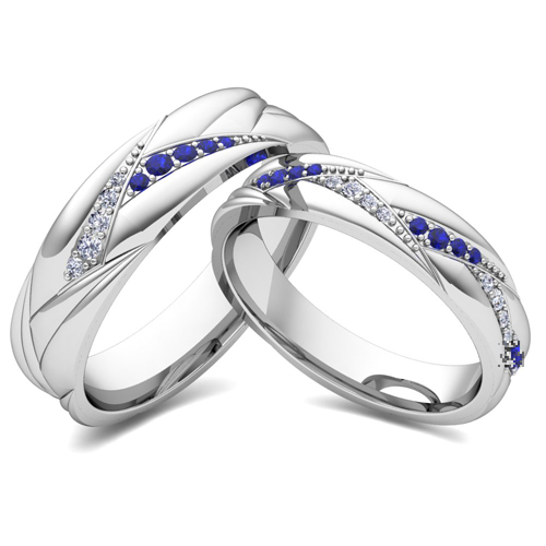 Matching Wave Wedding Band In 14k White Gold Sapphire And Diamond Ring