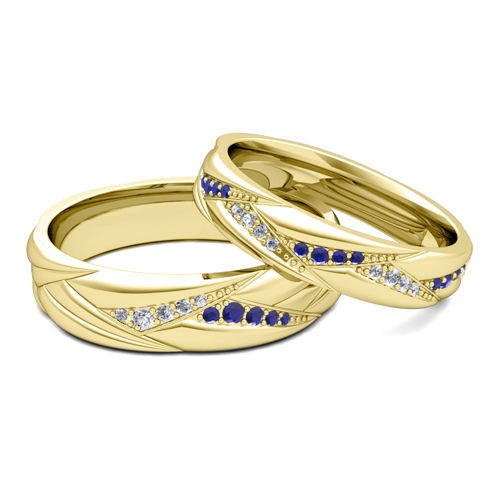 his matching wedding ring bands 18k gold sapphire