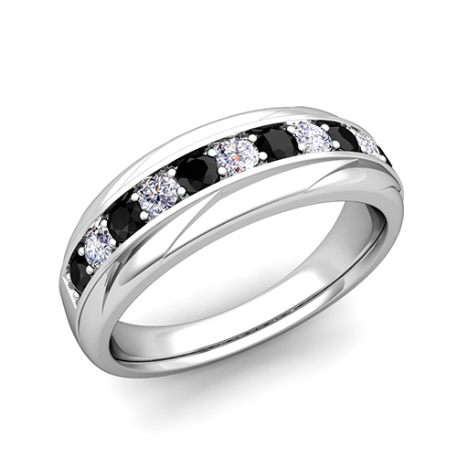 Band Gt 1 Carat Black And White Diamond Wedding Ring Band In White