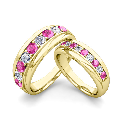 His and Hers Wedding Band 14k Gold Pink Sapphire Wedding Rings
