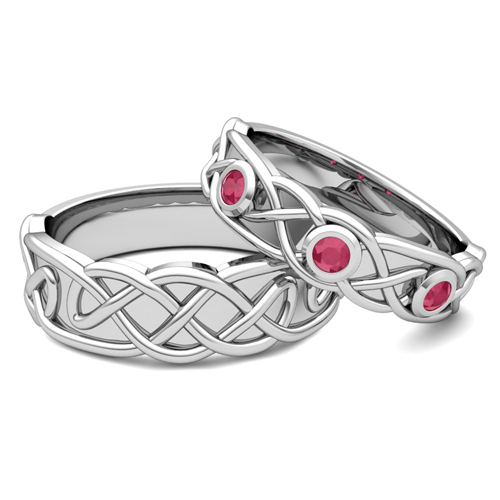 My love matching wedding band in 14k gold celtic ruby wedding ring