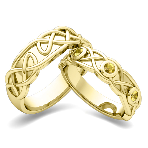 matching-wedding-band-in-14k-gold-celtic-knot-yellow-sapphire-wedding ...