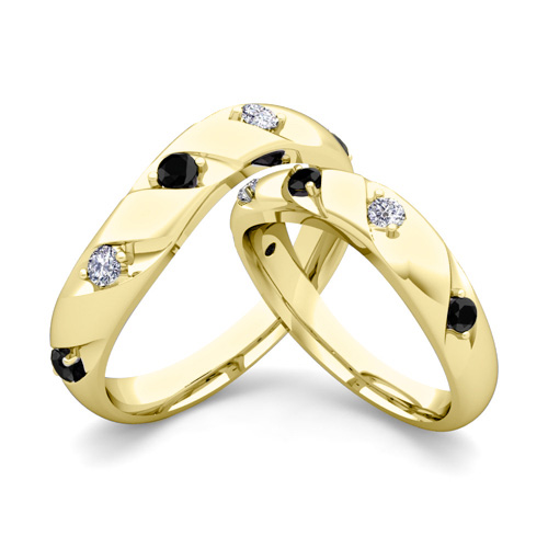 His Hers Wedding Ring 14k Gold Curved Black Diamond Wedding Bands