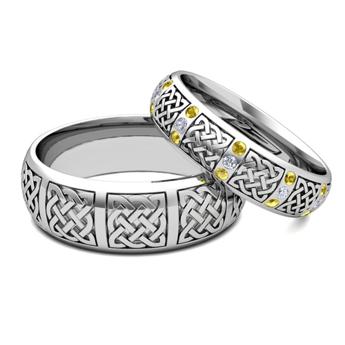 Matching Bands: His Hers Matching Wedding Bands 14k Gold Celtic Yellow