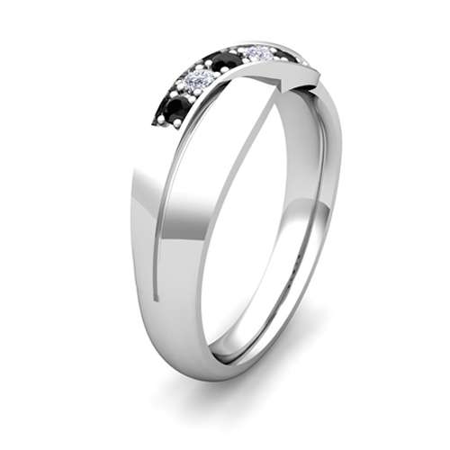 His and Hers Matching Wedding Bands 14k Gold Black Diamond Ring