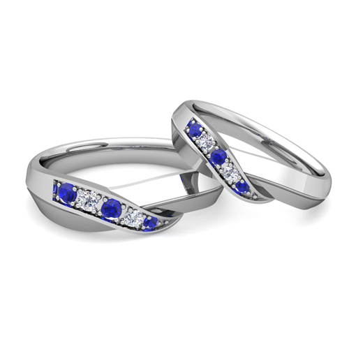 His and Her Matching Wedding Bands 14k Gold Infinity Sapphire Ring