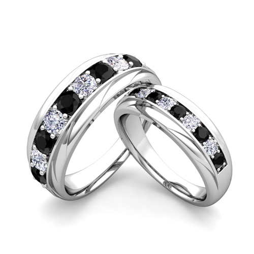 order now ships on friday 126order now ships in 5 business days matching wedding band in 18k gold brilliant black and white diamond wedding rings - Black Gold Wedding Ring Sets
