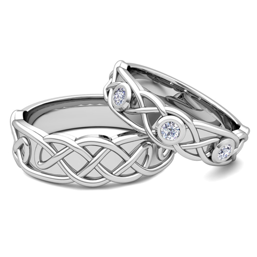 lovers celtic knot wedding ring set - Matching Wedding Rings