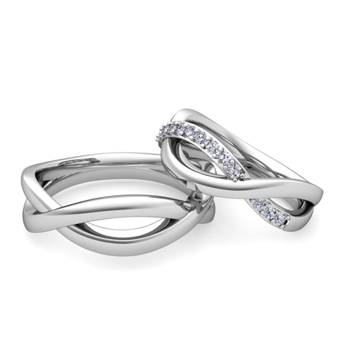 Matching Wedding Bands Diamond Infinity Wedding Ring in 18k Gold