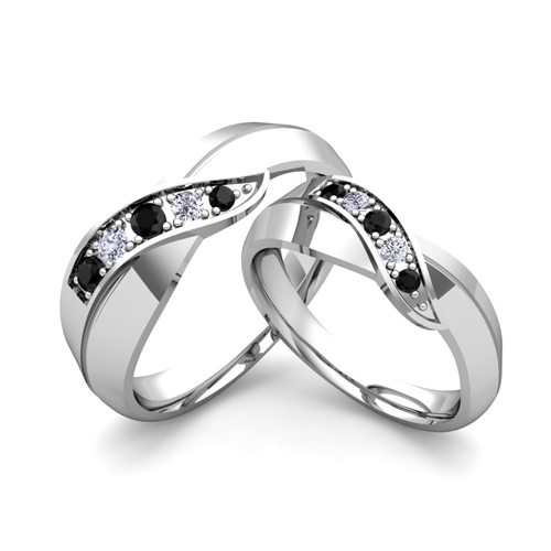 His and Hers Matching Wedding Bands 18k Gold Black Diamond Ring