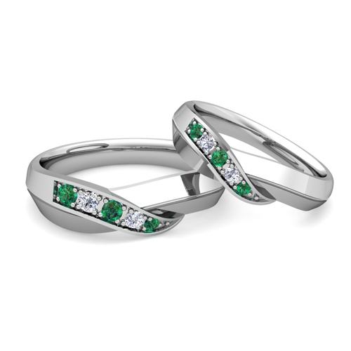 infinity wedding ring set - Emerald Wedding Ring