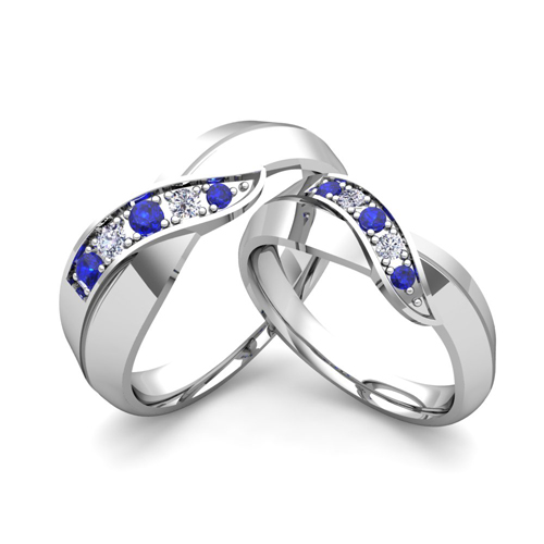 order now ships on thursday 125order now ships in 5 business days matching wedding band in 18k gold infinity diamond and sapphire wedding rings - Wedding Rings With Sapphires