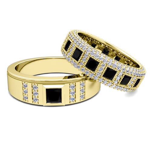 His and Hers Wedding Ring in 18k Gold Black Diamond Ring My Love