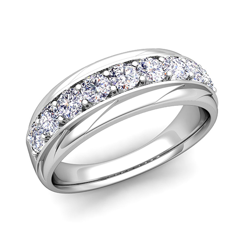 His And Her Wedding Band Platinum Pave Diamond Wedding Rings
