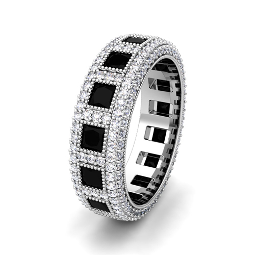 His and Hers Wedding Ring in 14k Gold Black Diamond Ring My Love