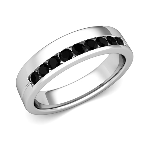 Couple s His Her Black Diamond Wedding Ring Platinum Anniversary Ring