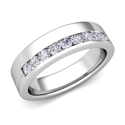 Wedding Bands Channel Set Diamond Wedding Rings In Platinum