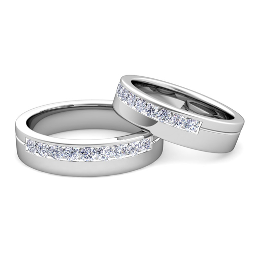 custom channel set matching wedding ring band with