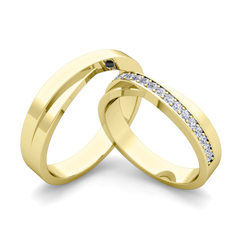 Matching Wedding Band Infinity Diamond Wedding Ring Set in 14k Gold