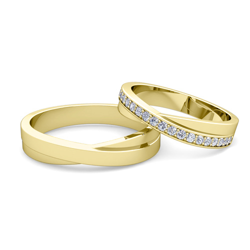 Matching Wedding Band Infinity Diamond Wedding Ring Set in 18k Gold