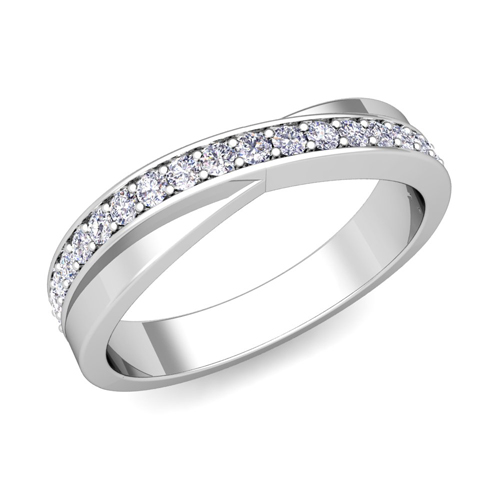 Matching Wedding Band Infinity Diamond Wedding Ring Set In Platinum
