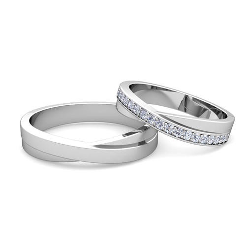 order now ships on tuesday 130order now ships in 6 business days matching wedding bands infinity diamond wedding ring set in platinum - Platinum Wedding Ring Sets