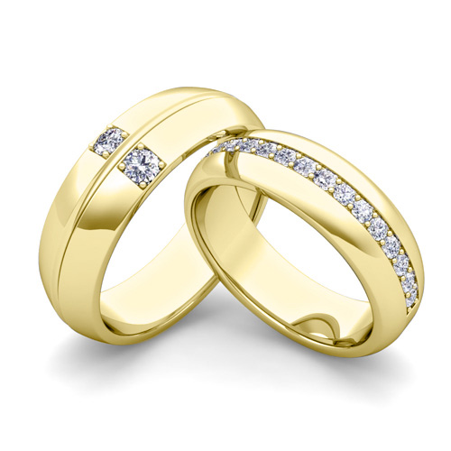 Build fort Fit Wedding Bands for Him and Her with Diamond Gemstone