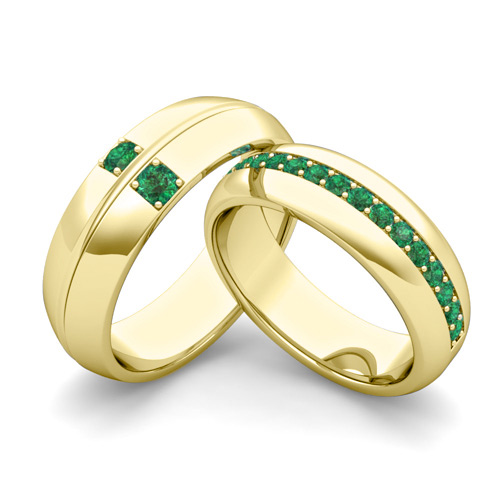 my his hers matching emerald wedding bands in 14k gold
