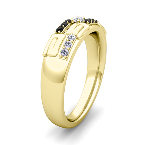 His Hers Wedding Ring 14k Gold Unique Black Diamond Wedding Bands