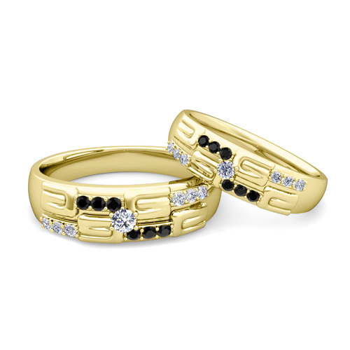 his hers wedding ring 14k gold unique black