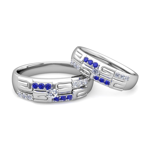 His and Hers Wedding Ring Platinum Unique Sapphire Wedding Bands