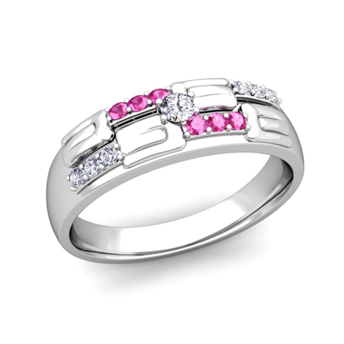 his and hers wedding ring platinum unique pink sapphire