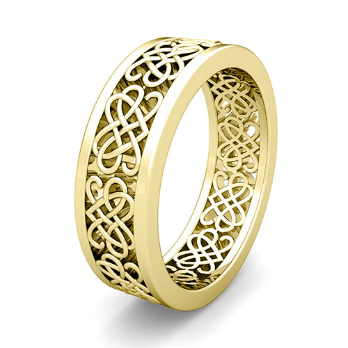 Custom Celtic Heart Knot Wedding Band Ring For Men And Women