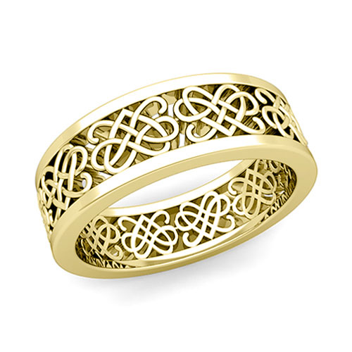 Celtic Heart Knot Wedding Band in 14k Gold fort Fit Wedding Ring