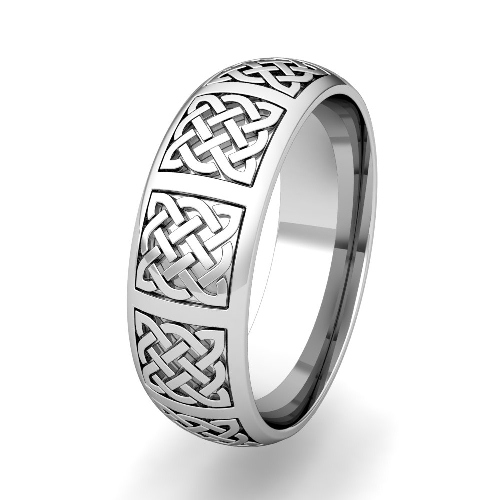 Mens Celtic Knot Wedding Band His 18k Gold Comfort Fit Wedding Ring